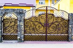 details of structure and ornaments of wrought iron fence and gate Royalty Free Stock Photography