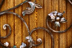 Decorative elements of artistic forging with imitation of flower stock photos