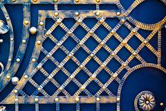 details of structure and ornaments of wrought iron fence and gate Royalty Free Stock Photos