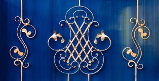 details of structure and ornaments of wrought iron fence and gate Royalty Free Stock Image