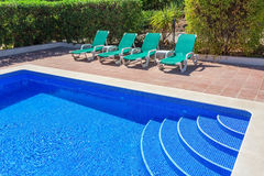 Details Summer swimming pool in the garden. Stock Images