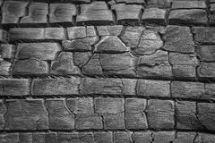 Details on the surface of charcoal. Black and white Stock Images