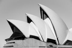 Details of the Sydney Opera House in Black and White Royalty Free Stock Photography