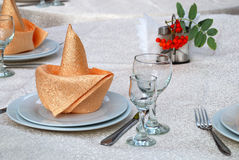Details of a table set for dining Stock Image