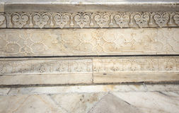 Details of Taj Mahal architecture on white marble background Royalty Free Stock Photos