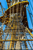 Details of a tall ship at sea on the Strait of Messina stock images