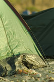 Details of tent on beach Royalty Free Stock Image