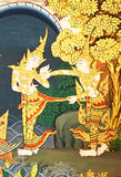Details of Thai traditional style church painting. Royalty Free Stock Photography