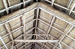 Details of thatched wooden gable roof structure. Royalty Free Stock Photography