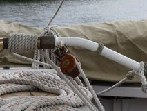 Wooden pulleys and ropes on vintage sailing boat Royalty Free Stock Photography
