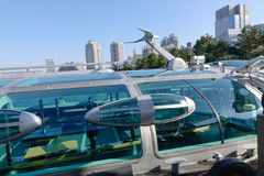 Details of Tokyo Cruise boat. At Odaiba Seaside Park in Tokyo, Japan Stock Images