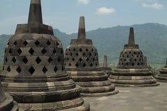Details of the top of Borobudur temple near Yogyakarta, Java isl. And, Indonesia Stock Image