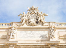 Details on the top of the Fontana di Trevi, Rome Stock Photo
