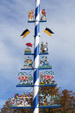 Details of traditional Bavarian maypole, Munich, Germany royalty free stock image