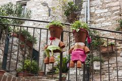Details of the traditional italian medieval historic center of beautiful little town of Spello Stock Photography