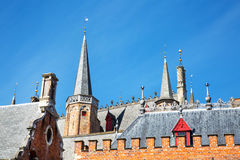 Details of traditional medieval house exterior against blue sky in Brugge, Belguim Royalty Free Stock Photos
