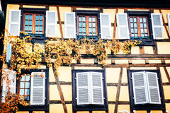 Details of traditional timber frame house. Alsace, France Royalty Free Stock Photo