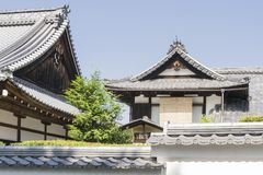 Details of traditional wooden Japanese temple. Roofs and walls in park of Nanzen-ji Temple in Kyoto, Japan Stock Images