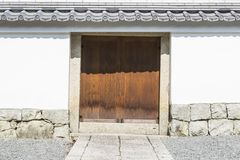 Details of traditional wooden Japanese temple. And walls in park of Nanzen-ji Temple in Kyoto, Japan Royalty Free Stock Photography