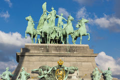 Details of the Triumphal arch with cloudy sky, Brussels Royalty Free Stock Image