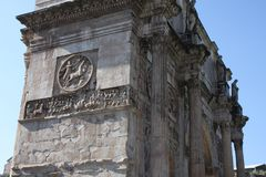 Details of the Triumphal Arch of Constantine, dedicated in AD 315 to celebrate Constantine.  Stock Photography
