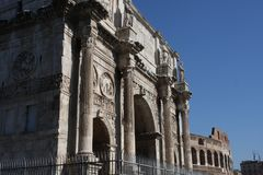 Details of the Triumphal Arch of Constantine, dedicated in AD 315 to celebrate Constantine.  Royalty Free Stock Images
