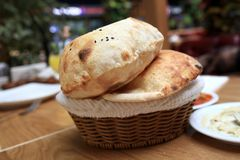 Details of turkish bread. In a basket Royalty Free Stock Image