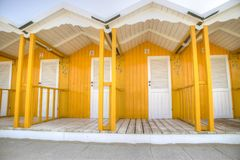 The colorful cabins of Versilia Stock Images