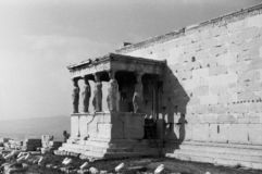 Details van Akropolis in Athene stock afbeeldingen