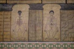 Details van Art Mural Point-massageschilderijen bij watpho Stock Afbeelding