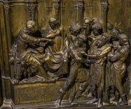 Details van battistero Di San Giovanni, Siena, Italië Stock Afbeeldingen