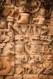Details van beeldhouwwerk, Angkor Wat, Kambodja Stock Fotografie