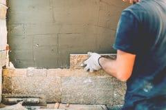 Details van bouwvakker op bouwterrein royalty-vrije stock fotografie