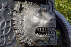 Details van de Koning Cannon van Tsaarpushka in Moskou het Kremlin stock fotografie
