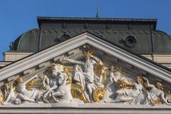 Details van de voorgevel van het Nationale Theater in Sofia, Bulgarije Royalty-vrije Stock Afbeelding