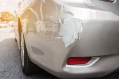 Details van een Auto in een Ongeval met de textuur van de barstkleur stock foto