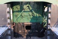 Details van een uitstekende drijfcabine van de stoomtrein Stock Afbeeldingen
