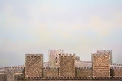 Details van Middeleeuwse Vestingsmuren stock illustratie