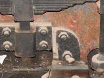 Details van oud roestig locomotievenclose-up, textuur stock foto's