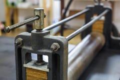 Details van oude oude machine om gravures te maken stock afbeelding