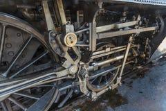 Details van oude stoom locomotiv stock afbeeldingen
