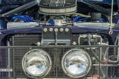 Details van voorzijde van klassieke spierauto Stock Foto's