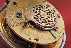 Details of very old pocket clock machine royalty free stock photography