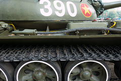 Details of Vietnamese Vintage Tank - Crawlers in Saigon. Closeup on old Vietcong tank. Self-propelled Howitzer M109 in Ho Chi Minh. Vietnam Stock Photo