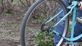 Details of vintage bike. Bicycle is old, rusty and in bad condition. stock footage
