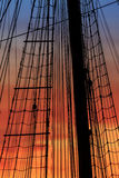 Details from a vintage ship at sunset. Stock Photography