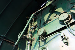 Details of a vintage steam train driving cabin. Royalty Free Stock Photos