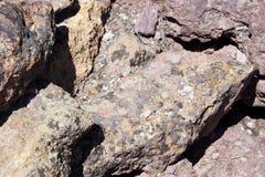 Details of volcanic tufa rhyolite rocks Stock Image