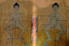 Details von Art Mural Point-Massagemalereien an wat pho Lizenzfreie Stockbilder
