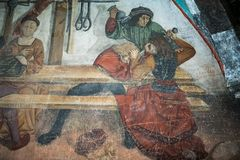 Details von Graffiti, Ritter im Mittag, mittelalterliche Szene gemalt Lizenzfreies Stockbild